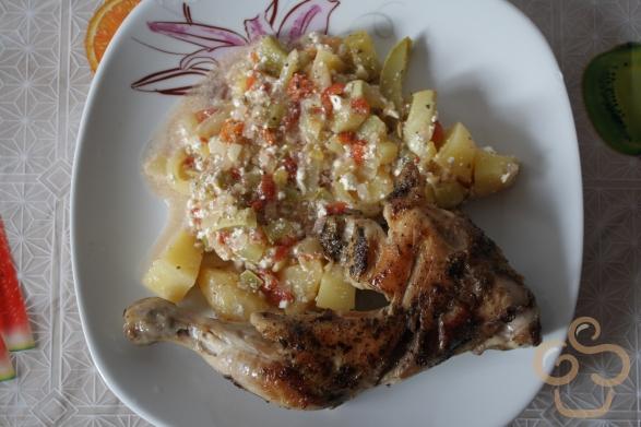 Csirkecomb párolt zöldséggel
