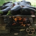 Grill the eggplants outdoors